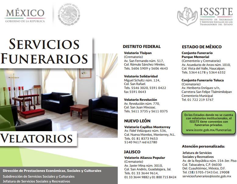 Directorio de velatorios del ISSSTE en México.